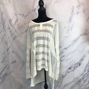 Free People White Knit Oversized Tunic Top